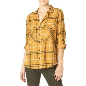 Sanctuary Boyfriend Shirt XS Plaid Top Snap Front